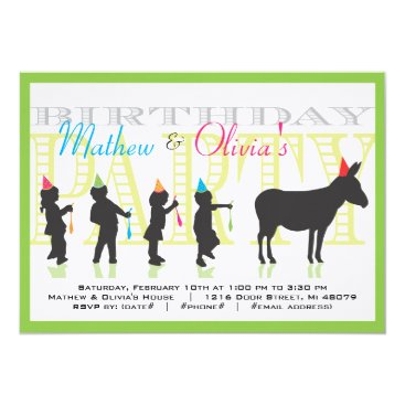 Pin the Tail on the Donkey Birthday Invitation