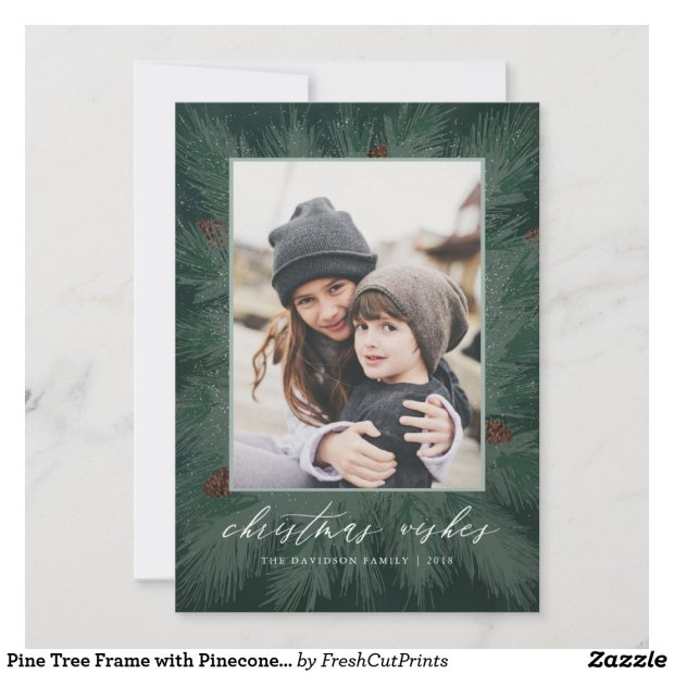 Pine Tree Frame with Pinecones and Family Photo Holiday Card