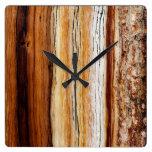 Pine Wood Grain Pattern Square Wall Clock