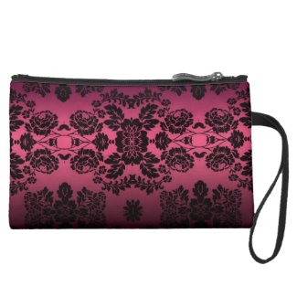 Pink and Black Lace Sueded Mini Clutch Wristlet Clutches