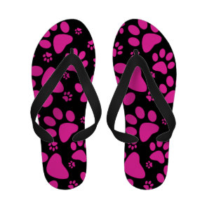 Pink and Black Leopard Print and Paws Personalized Sandals