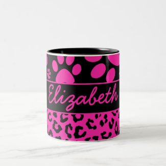 Pink and Black Leopard Print and Paws Personalized Mugs