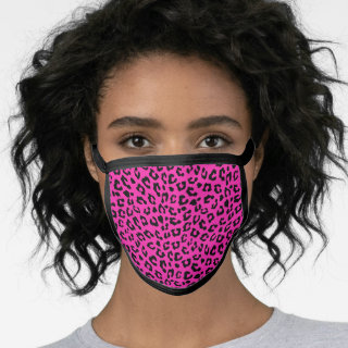 Pink and Black Leopard Print Face Mask