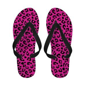 Pink and Black Leopard Print Spots Sandals