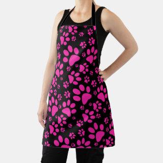 Pink and Black Paw-Prints Apron