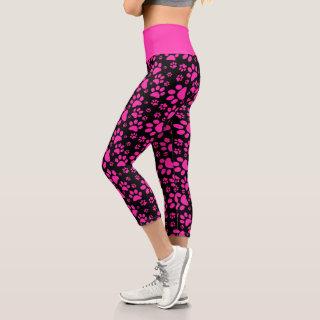 Pink and Black Small Paw Print Capri Leggings