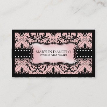 Pink and Black Vintage Damask Wedding Planner Business Card