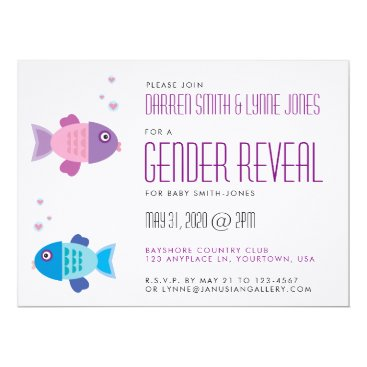 Pink and Blue Baby Fish Gender Reveal Invitation