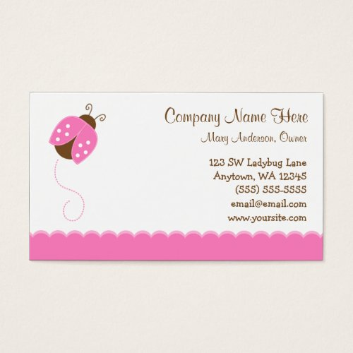 Pink and Brown Ladybug Business Card