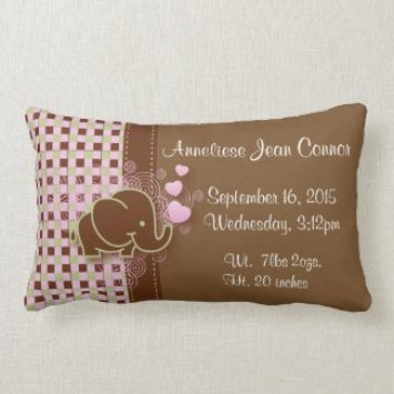 Pink and Brown Plaid with Elephant Birth Pillow