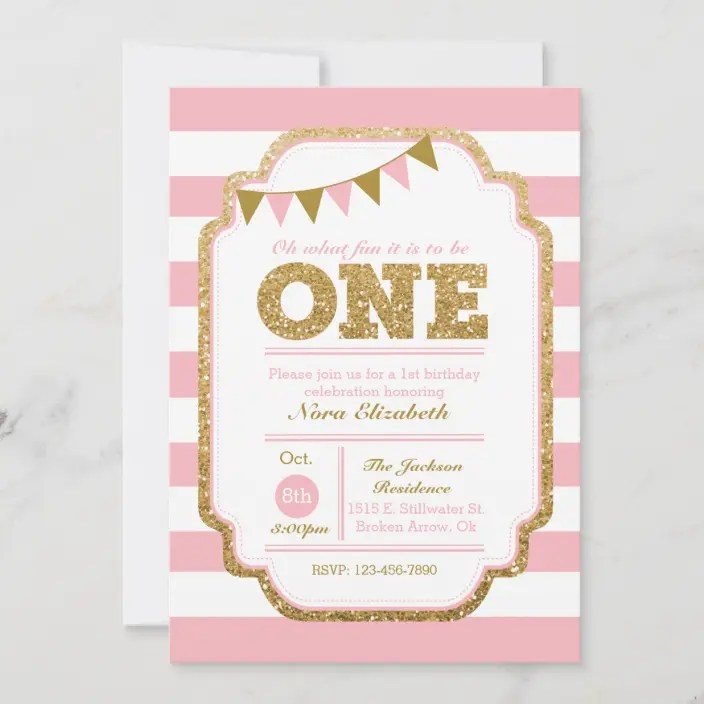 Pink And Gold First Birthday Invitation Zazzle Com
