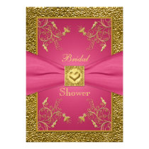 Pink and Gold Floral Bridal Shower Invitation