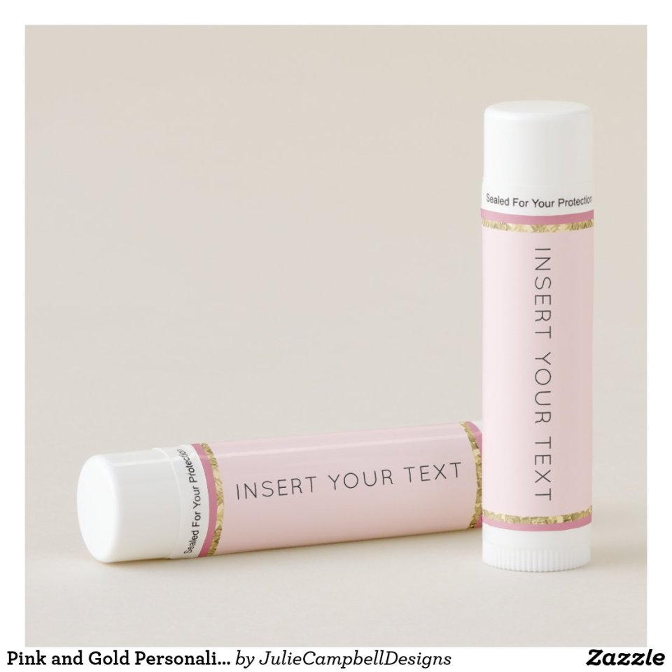 Pink and Gold Personalized Lip Balm