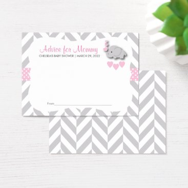 Pink and Gray Elephant Baby Shower - Advice Business Card