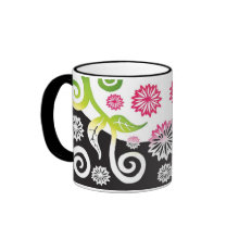 Pink and green shaded effect Artnouveau floral mug mug