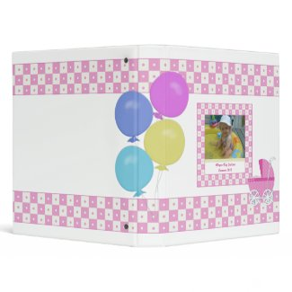 Pink and White Carriage Baby Binder binder