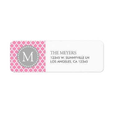 Pink and White Moroccan Pattern with Monogram Label