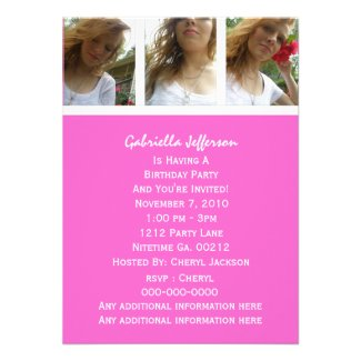 Pink And White: Picture Party Invitation