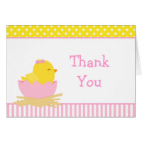 Pink and Yellow Girl Chick Thank You Card