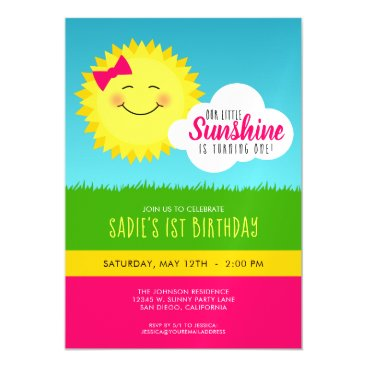 Pink and Yellow Sunshine Birthday Party Magnetic Invitation
