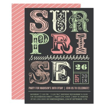 Pink Art Deco Surprise Party Adult Birthday Invite
