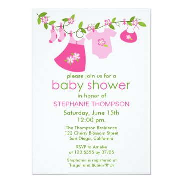 Pink Baby Clothesline Baby Shower Invitations