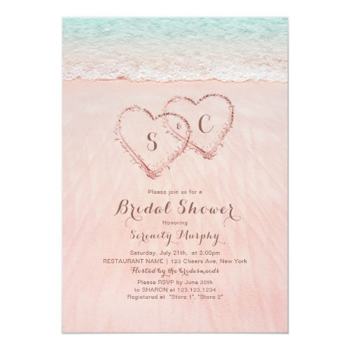 Pink beach hearts in the sand bridal shower invitation