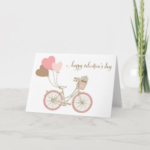 PINK BICYCLES AND BALLOONS VALENTINE'S DAY CARD