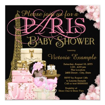 Pink Black and Gold Paris Ethnic Girl Baby Shower Card
