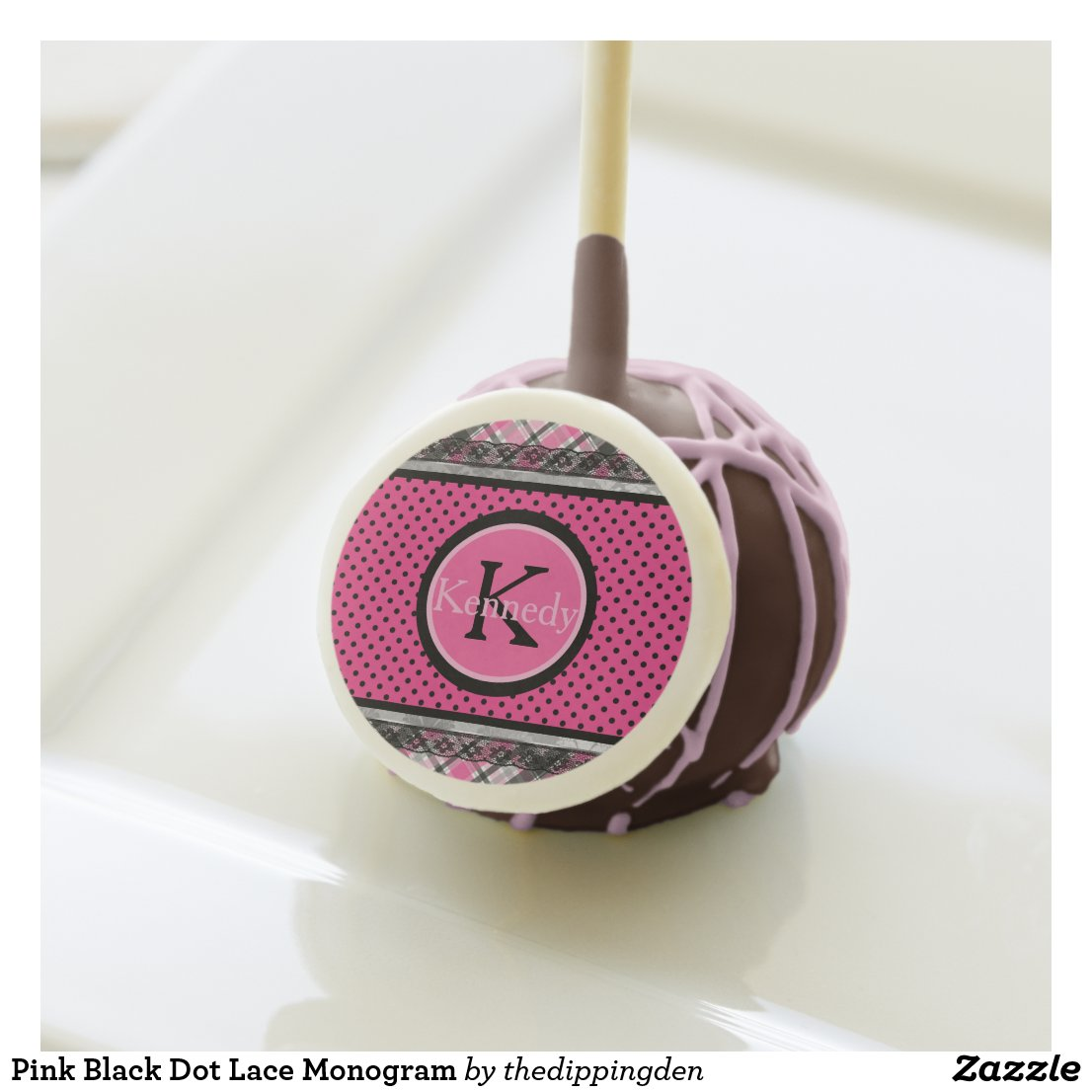 Pink & Black Monogram Cake Pops