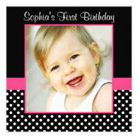 Pink Black Polka Dot Girl Photo 1st Birthday Party Custom Invitation
