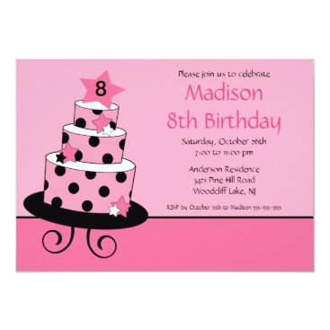 Pink & Black Star Cake Birthday Invitation