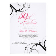 Pink Black Swirls 50th and Fabulous! Birthday Invitation