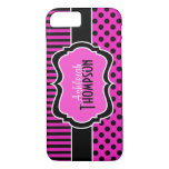 Pink Black White Striped Polka Dots iPhone 7 Case