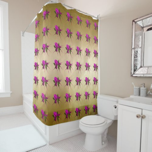 Pink Bloom on Gold Shower Curtain