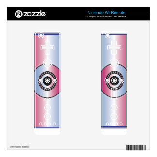 Pink & Blue Abstract Nintendo Wii Remote Skins