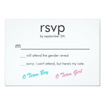Pink & Blue Boy or Girl Gender Reveal Party RSVP Card