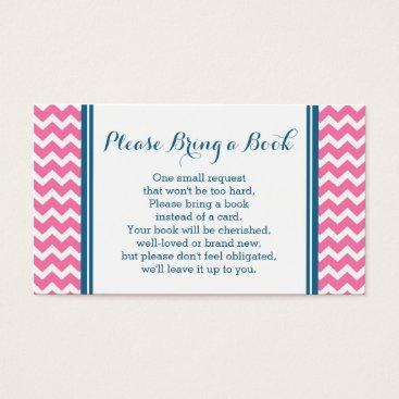 Pink Blue Chevron Baby Shower Book Request Card
