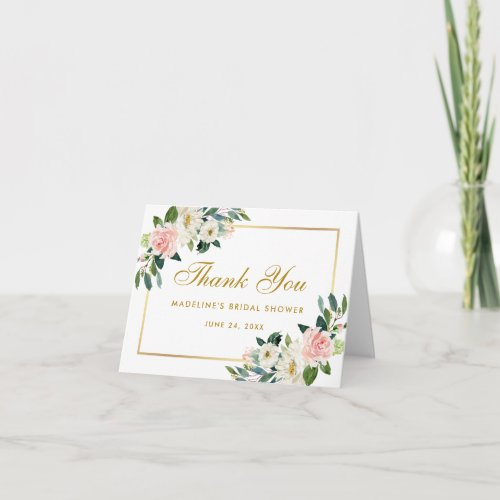 Pink Blush Floral Gold Bridal Shower Thanks Note Thank You Card