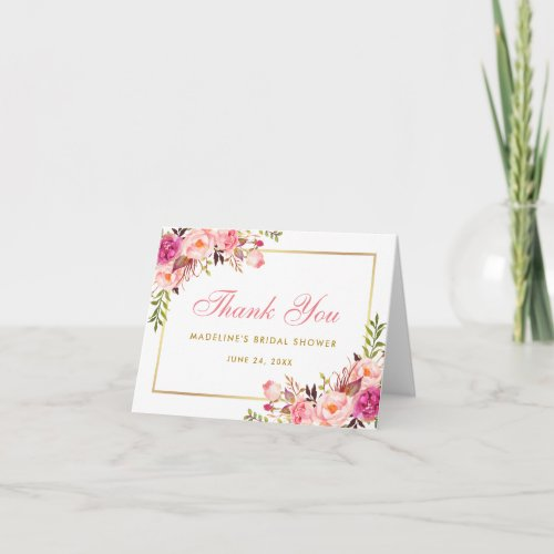 Pink Blush Gold Floral Bridal Shower Thanks Note P Thank You Card