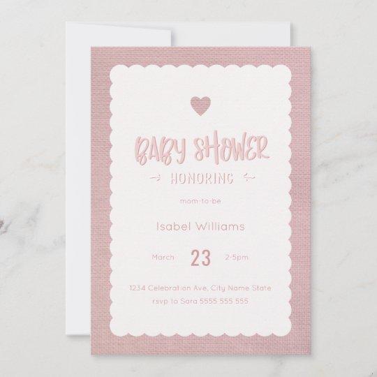 Pink Burlap Baby Shower Invitation Blank Reverse