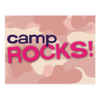 Pink Camo CAMP ROCKS! Postcard