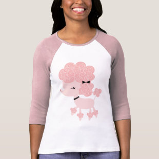 Pink Cartoon French Poodle T-shirt