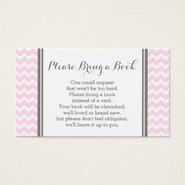 Pink Chevron Baby Shower Book Request Card