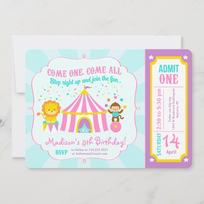 https www zazzle com pink circus carnival birthday party ticket invitation 161214027855791986