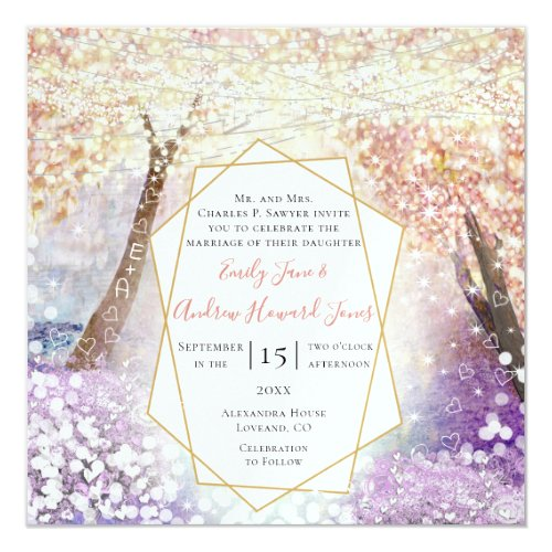 Pink Coral Purple and Blue Fairytale Wedding Invitation