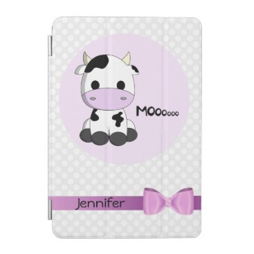Pink cute cow kawaii cartoon girls ipad cover case