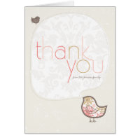 Pink Damask Chicks Baby Girl Thank You Note Card