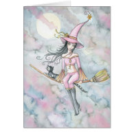 Pink Dawn Halloween Witch and Cat Card