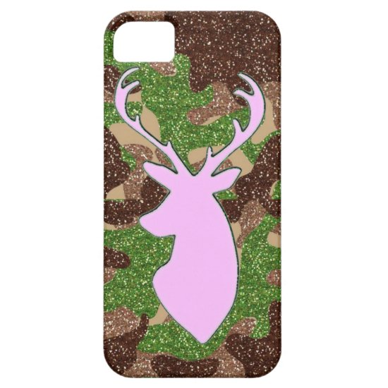 Pink deer and glitter camo iPhone 5 case